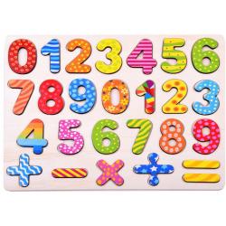 Drevené čísla a znaky na učenie počítania