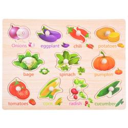 Drevené puzzle - veselá zeleninka