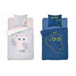 Svietiace bavlnené posteľné obliečky - 160x200 - Sova