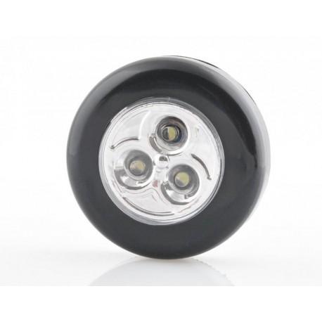 Samolepiaca lampička 3 LED Čierna
