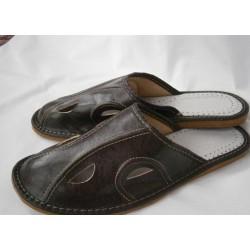 Pánske kožené papuče - tmavohnedá