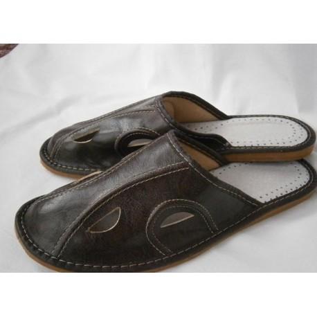 Pánske kožené papuče - tmavohnedá ( P0003 )