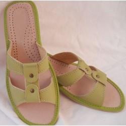 Dámske kožené papučky - zelené