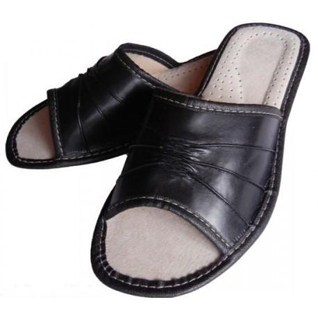 D0002 Dámske kožené papučky - čierne 38
