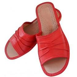 Dámske kožené papučky - červené
