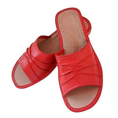 D0003 Dámske kožené papučky - červené 38