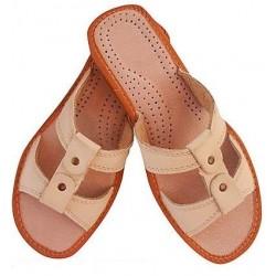 Dámske kožené papučky - béžové