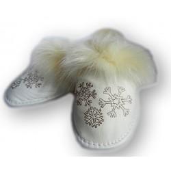 Dámské kožené papučky - biele