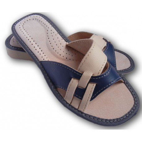 Dámske kožené papučky - Bielomodrá ( D0008 )