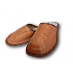 Pánske kožené papuče - svetlo hnedá