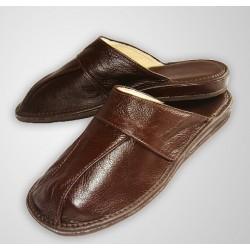 Pánske kožené papuče - vystlané kožou hnedá