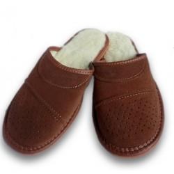 Pánske papuče z brúsenej kože - hnedá