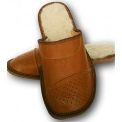 Pánske kožené papuče - Hnedá