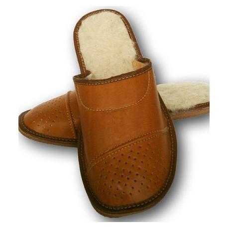 Pánske kožené papuče - Hnedá ( P0010 )
