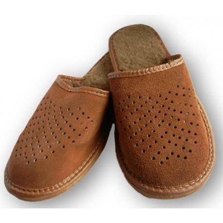 Pánske kožené papuče - hnedá ( P0011 )