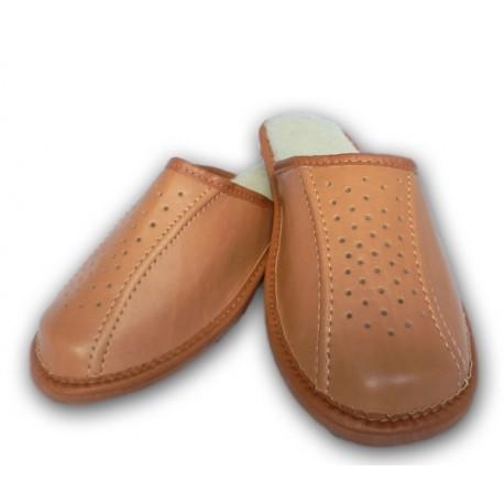 Pánske kožené papuče - Svetlo hnedá ( P0012 )