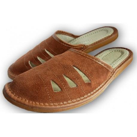 Pánske kožené papuče - Hnedá ( P0013 )