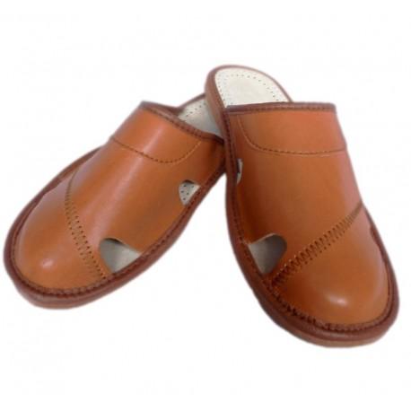 Pánske kožené papuče - tmavo hnedé ( P0016 )