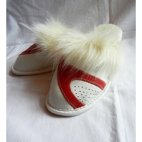 Dámske kožené papučky - Biela s červenou ( D0010 )