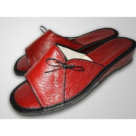 Luxusné dámske kožené papuče - červené ( D0011 )