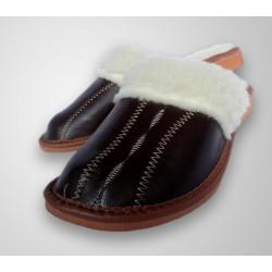 Dámske kožené papučky - Tmavo hnedá