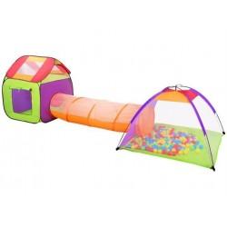 Detský stanový set so spojovacím tunelom + 200 loptičiek MALATEC