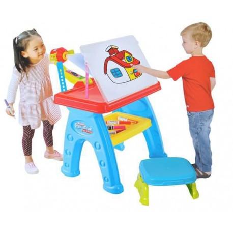 Taburetka so stoličkou a projektorom na maľovanie
