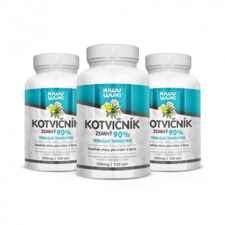 KIWU WUKI AKCIA 3bal | Kotvičník zemný | Tribulus Terrestris | tabletky 3x120 cps | 90% extrakt