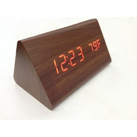 Drevené LCD hodiny s dátumom, budíkom a teplotou