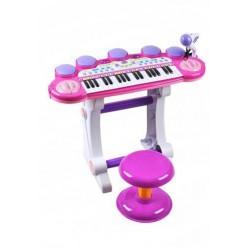 Klavír pre deti s mikrofónom a taburetkou