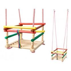 6248 Detská drevená hojdačka 33x33cm farebná