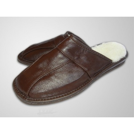 Pánske kožené papuče - tmavo hnedá ( P0006 )